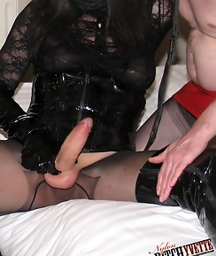 This gimp just cannot get enough of Yvettes hard TGirl cock
