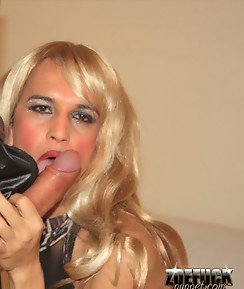 Two sexy blonde shemale sluts get their cocks sucked hard by horny and very hungry Zoe