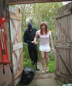 Naughty TGirl is taking down to the shed and has her arse spanked and caned.