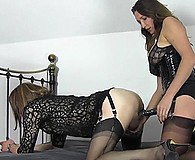 Dominant sexy femdom Strapon Jane makes TGirl slut Emily take her big black strapon deep in her slutty mouth and TGirl pussy