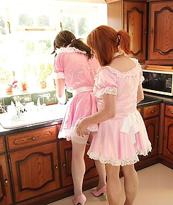 Naughty crossdresser maids take a break from cleaning duties, to have some fun sucking cock