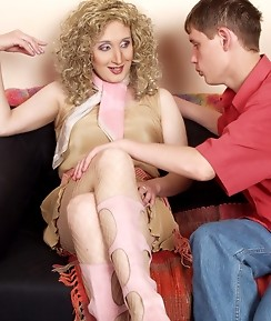Curly blond sissy guy bending over for breathtaking ass-plundering action