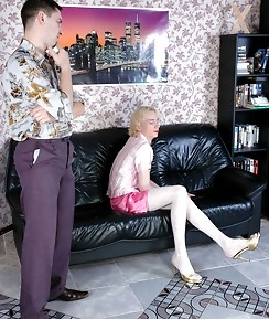 Steaming hot sissy guy in white nylons getting under fierce anal onslaught