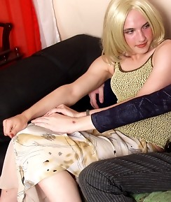 Steamy blond sissy guy getting kicks from gay ass-fucking right on the sofa