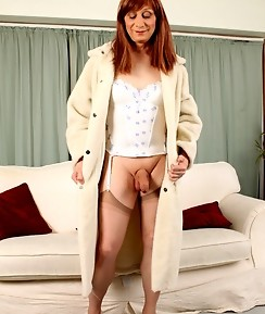 Lucimay slowly strips and wanks her hard Tgirl cock
