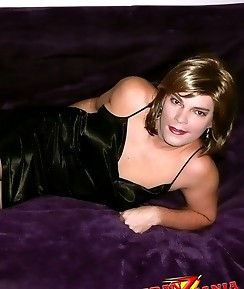 This blonde crossdressing cutie loves relaxing on her bed
